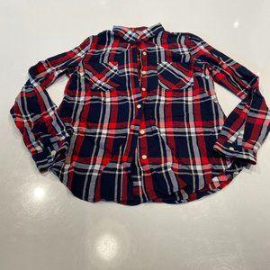 Cotton Flannel Boyfriend Shirt - Medium